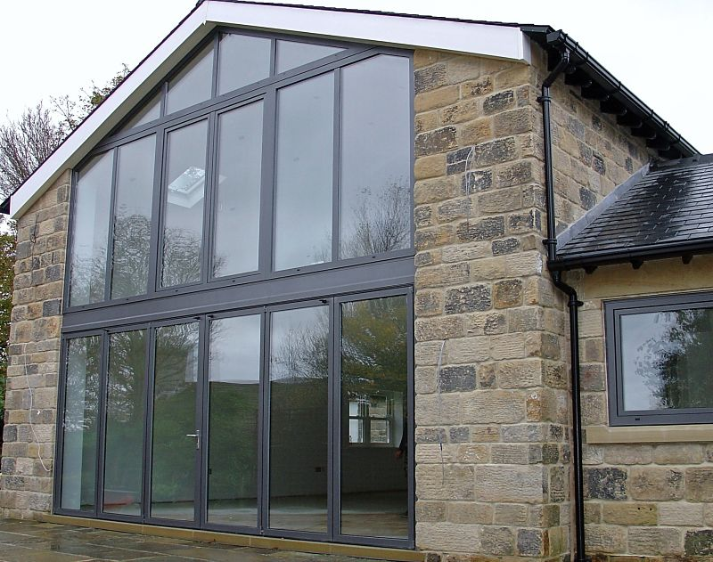 large feature aluminium window with angled frame