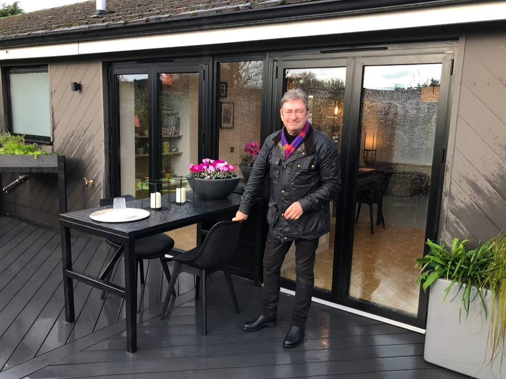 Alan Titchmarsh and Visofold 1000 Bi Fold doors installed at Swindon in Wiltshire on ITV Love Your Home & Garden programme