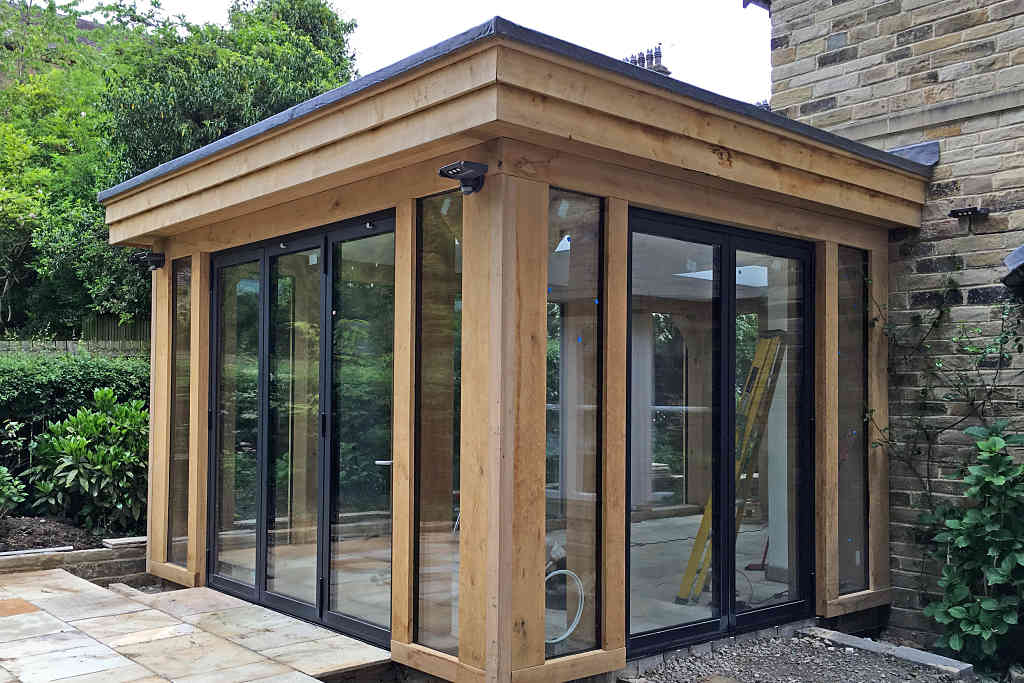 Reynaers CF77 Bi Fold doors installed at Baildon in West Yorkshire - angle view