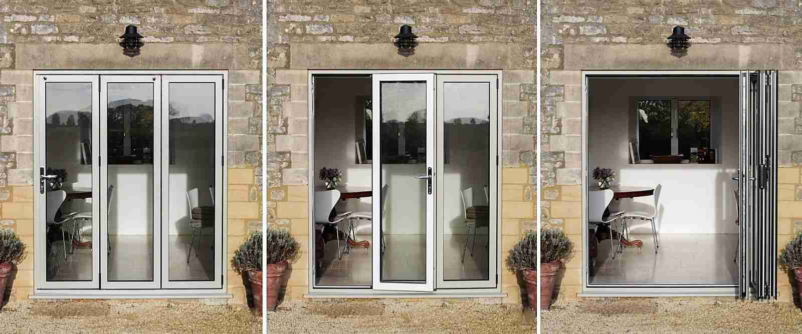 Aluminium Bi-fold doors easily slide and fold open