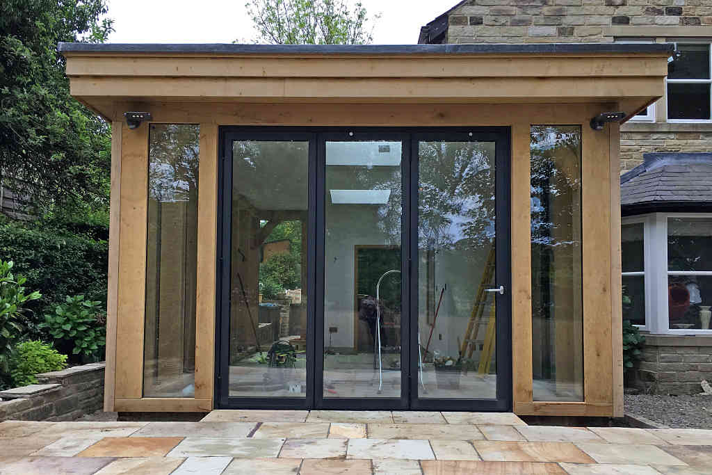 Reynaers CF77 Bi Fold doors installed at Baildon in West Yorkshire - front view