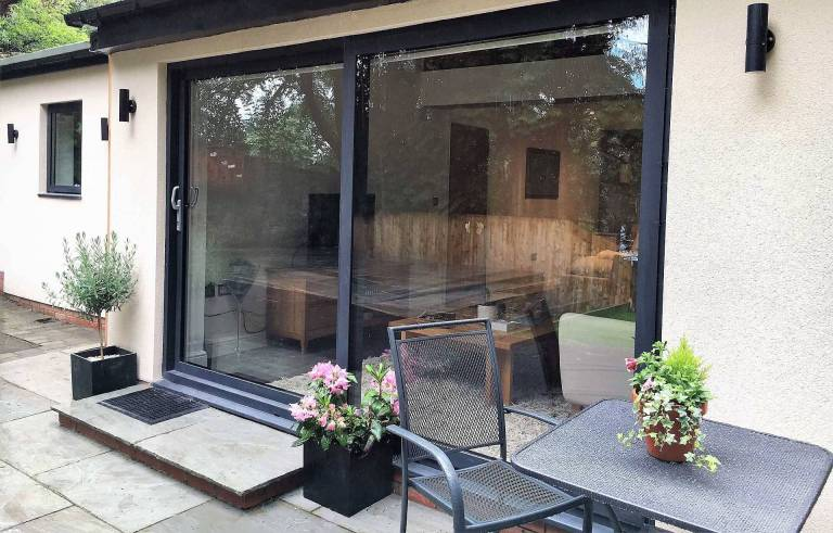 visoglide plus sliding patio doors at house extension in Ilkley Yorkshire