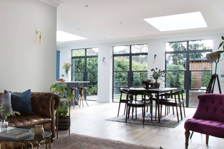 steel look french doors installed at Golders Green property in London