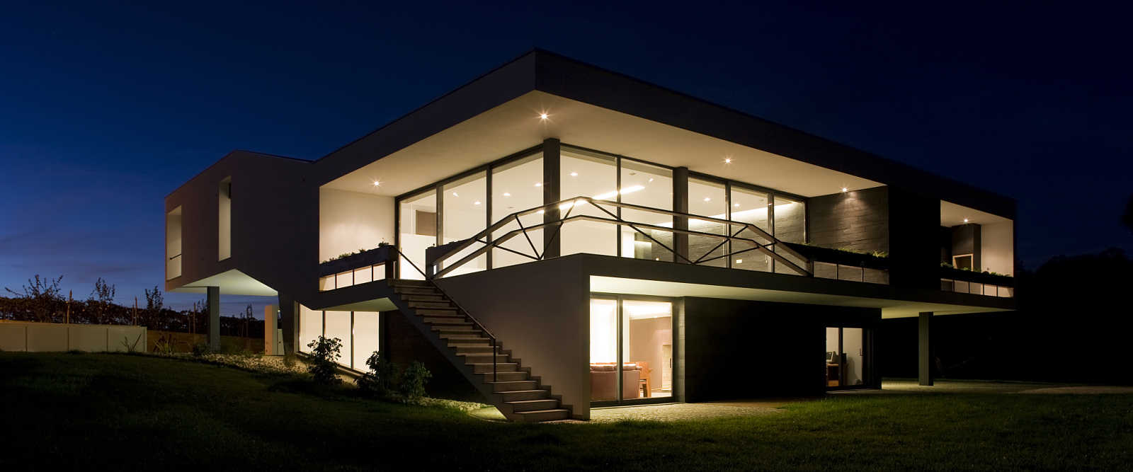 Night Time Illuminated Contemporary Aluminium Windows