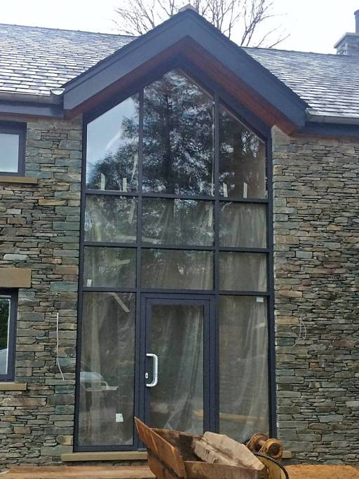 Aluminium windows and doors installed at Lake Windermere in Cumbria - front view