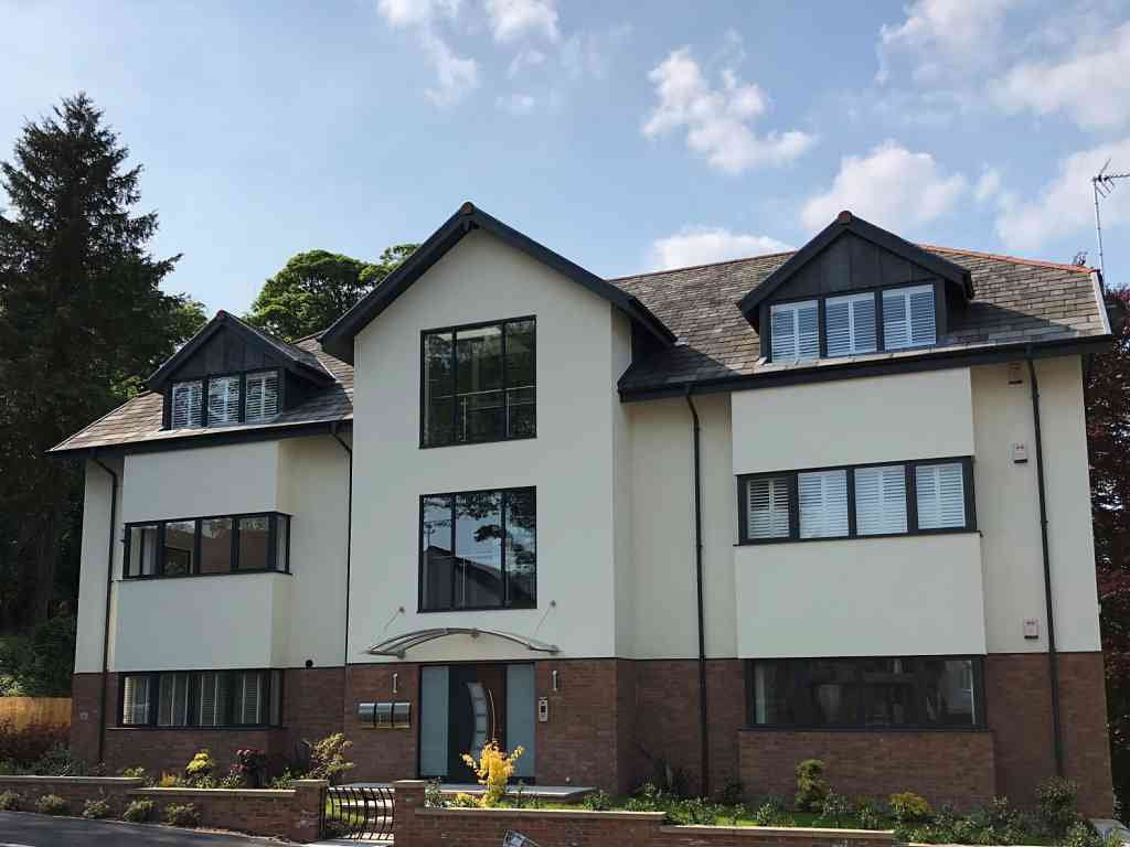 modern Aluminium windows & doors installed with planning constraint in Knaresborough, North yorkshire - front view