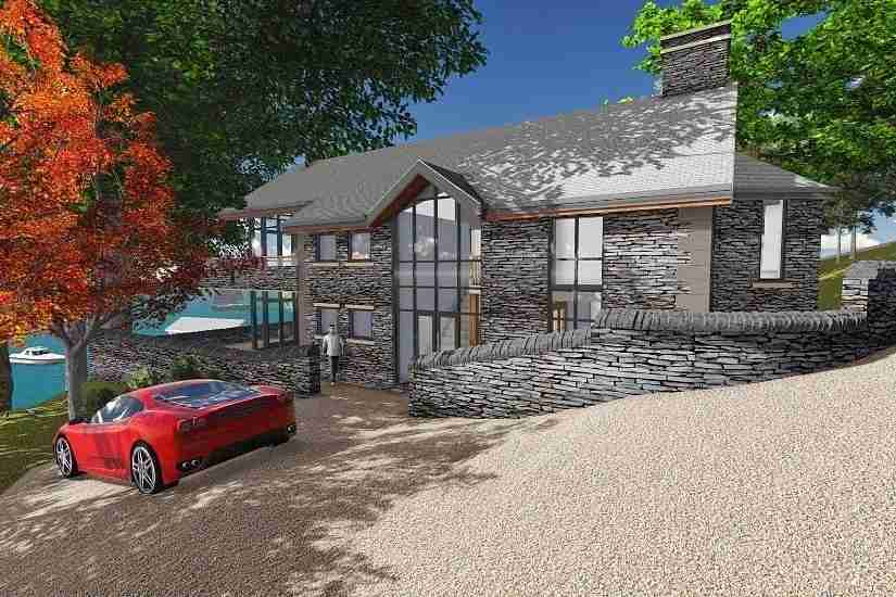 Architectural drawing of lake house, Lake Windermere in Cumbria