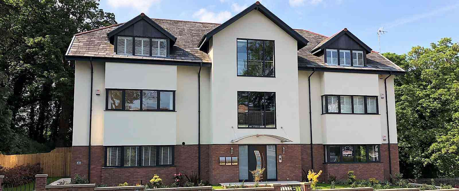 Smart wall glazing on new build apartments Knaresborough North Yorkshire