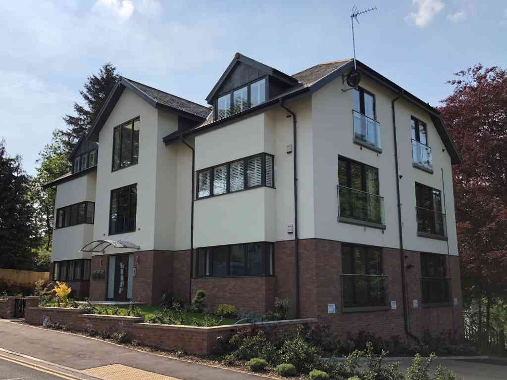 modern Aluminium windows & sliding doors installed with planning constraint in Knaresborough, North yorkshire - side view