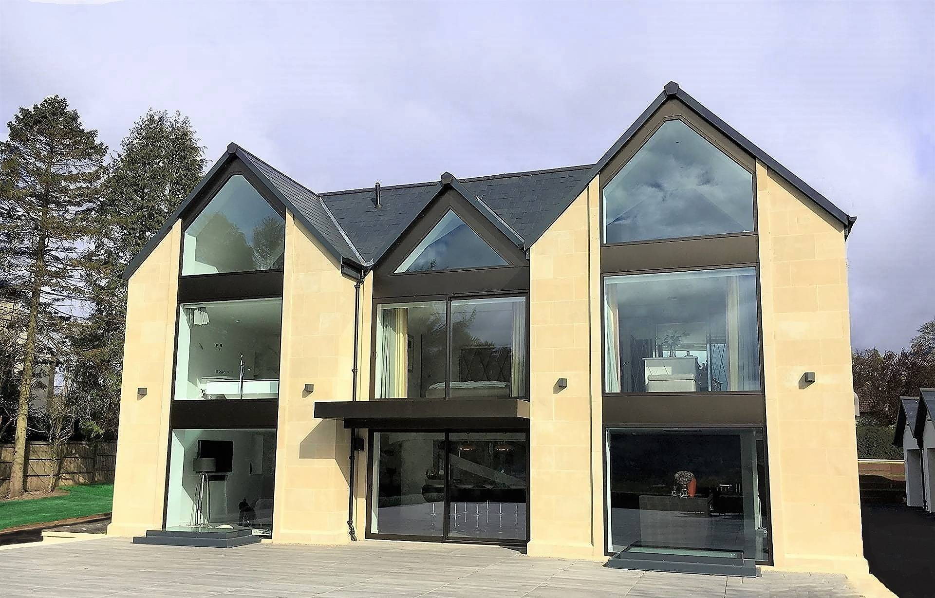 floor to ceiling feature windows installed in large 'grand design' style new build property near Ilkley in West Yorkshire