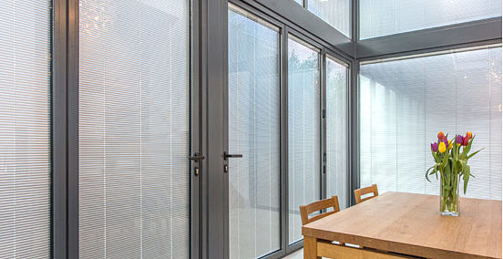 integral built in blinds for office partition windows