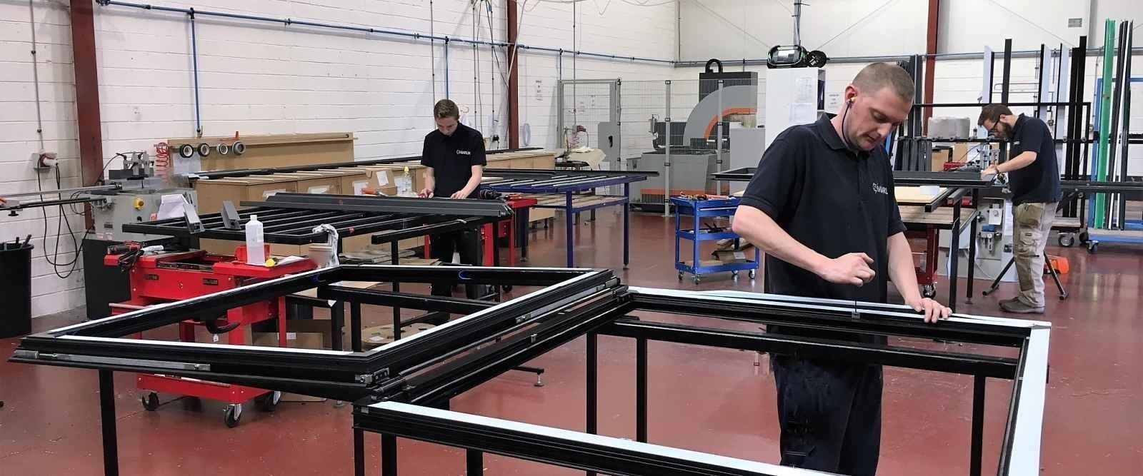 Aluminium windows being made in our in house manufacturing facility in Keighley, West Yorkshire